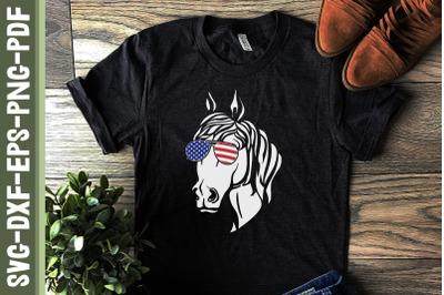 Merica Patriotic Horse 4th of July