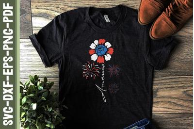 America Flower 4th of July Fireworks
