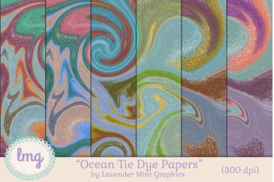 Digital Scrapbooking Ocean Tie Dye Papers