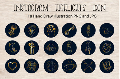 Instagram Highlights Icon.Gold logo.Story covers