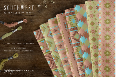 12 Seamless Southwest Patterns - Turquoise, Green & Brown