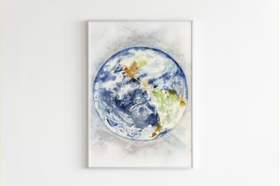 Watercolor Earth Print and Clip Art