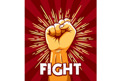 Raised Fist Revolution Protest Emblem