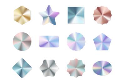 Holographic labels. Round gradient metal certification glitter sticker