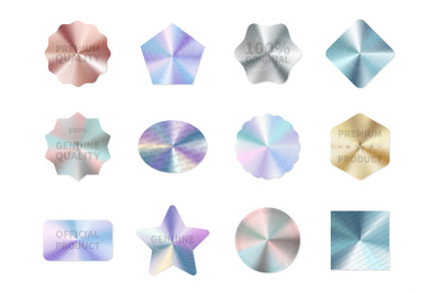 Holographic guarantee. Quality control metal stickers&2C; round square an