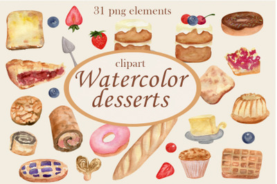 Watercolor bakery, Dessert clipart, Food clip art