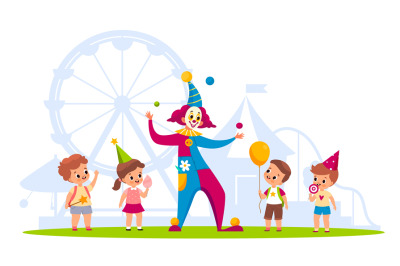 Clown with kids. Cheerful children and funny juggler in carnival costu