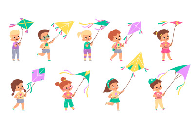 Kids with kites. Happy children fly color kite into sky collection, di