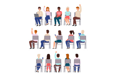 Sitting people. Young men and women sit chairs in row collection, diff