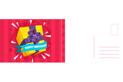 Happy Birthday. Holiday postcard and bright wrapped gift box with ribb