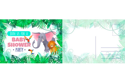 Baby shower party card. Holiday card with cute funny exotic animals an