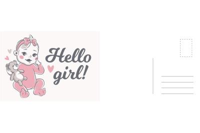 Hello girl card. Newborn child birthday party invitation and greeting,