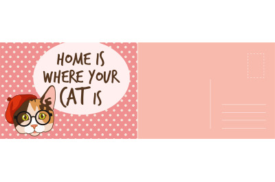 Home is where you cat is card. Holiday card with funny kitten with hat