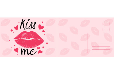 Kiss me card. Romantic postcard with sexy red lips, hearts and calligr