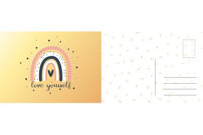 Love yourself card. Happy birthday party invitation. Holidays postcard
