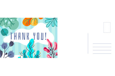 Thank you greeting card. Abstract background with colorful leaves of f