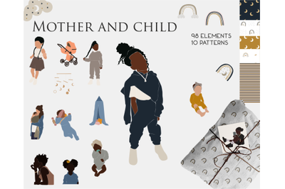 Children's clipart, child and mother, large collection, interior