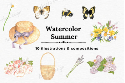 Watercolor Summer Illustrations, Watercolor Flowers
