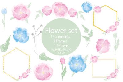 Flowers SVG. Floral SVG. PNG. Flowers set.