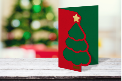 Christmas Tree Papercut Card | SVG | PNG | DXF | EPS