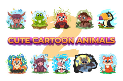Set of cute cartoon animals, characters_02