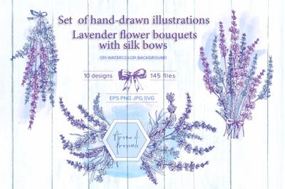 Hand-drawn Lavender flower bouquets
