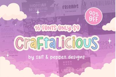 The Craftalicious Font Bundle (Font Bundles, Cheap Fonts, Cute Fonts)