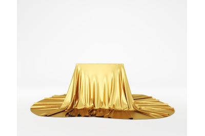 Golden silky cloth pedestal podium. 3d rendering.