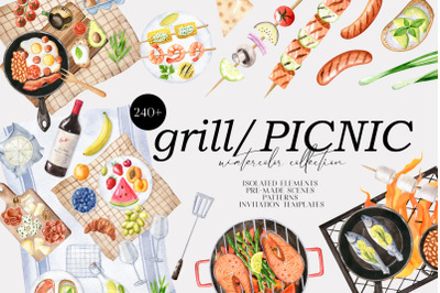 Grill and Picnic watercolor set