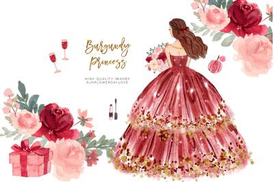 Marsala Princess Clipart, Wedding Princess,  Maroon Burgundy