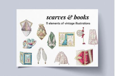 Vintage Illustrations for Scrapbookig, Scarves and Vintage Books