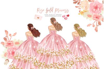 Pink Princess Flowers Clipart, Pink Princess Clipart, Pink & Gold