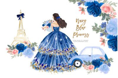 Princess Navy Blue Dress Clipart, Blue Flowers watercolor clipart