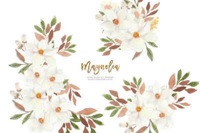 White Magnolia watercolor Clipart, Greeting Cards, Magnolia Bloom