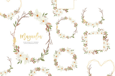White Magnolia Flower Frame Clipart, Magnolia Frame watercolor Clipart