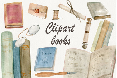 Watercolor vintage book clipart, Books PNG