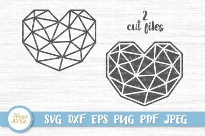 Heart svg, Polygon heart svg, Low poly heart svg, Origami heart svg