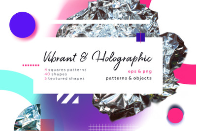 Vibrant & Holographic. Geometric and gradient collage set.