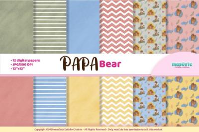 papa bear digital paper, dad