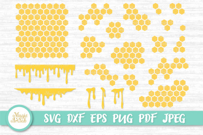 Honeycomb svg, Honey drip svg, Honey svg, Beehive svg, Patterns