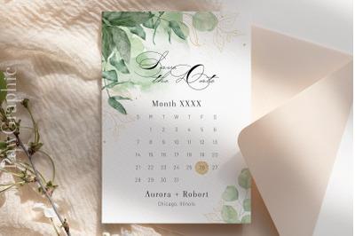Save the Date Template Calendar Greenery Wedding Announcement Card
