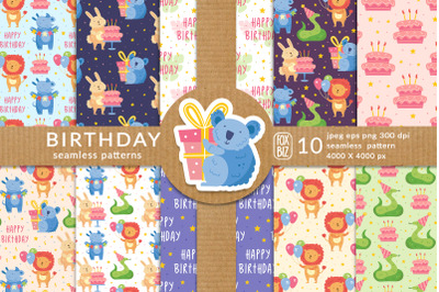 Happy Birthday party animals vector seamless patterns