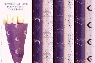 Abstract Background Patterns. Eyes, stars, moon, sunbursts, moth.