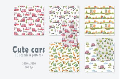 Watercolor kids cars seamless patterns- 10 seamless files