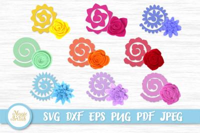 Felt Flowers svg, Rolled flower svg, No sew Felt Flower set, 3d flower