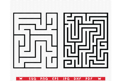 SVG Two Rectangular Mazes, Silhouettes digital clipart