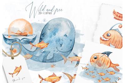 Watercolor whale nursery nautical clipart- 25 elements