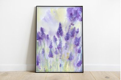 Summer Lavender Watercolor Print