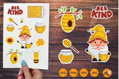 Printable stickers with bee and gnome