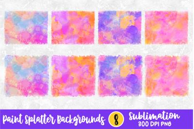 Vibrant Paint Splatters Sublimation Backgrounds Bundle PNG